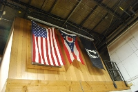 American Flag hanging in the shop