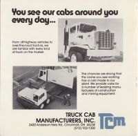 Old Truck Cab advertisement describing how there's a good chance the cab you see on a truck is made by TCM